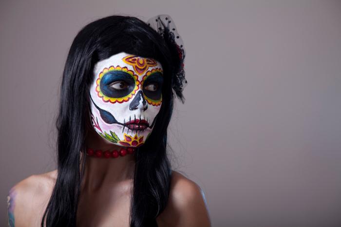 maquillage squelette mexicain femme pour dia de los muertos mexico