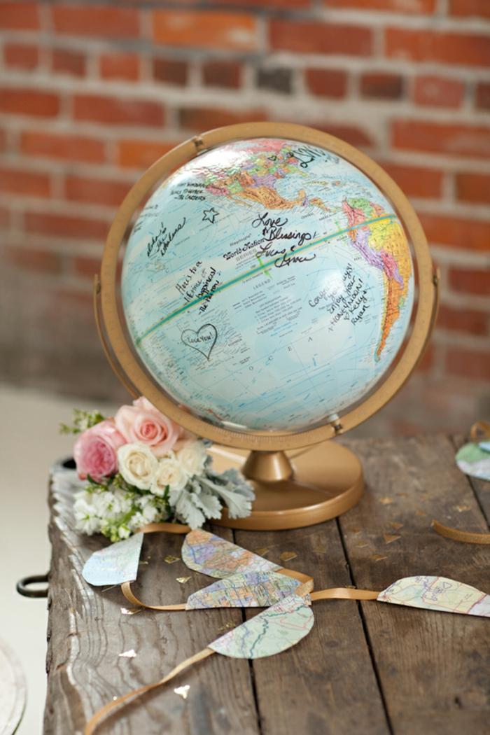 Livre d or personnalisé mariage livre d or mariage globe magnifique idée voyage