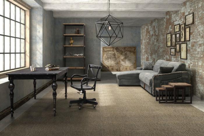 meuble industriel, table noire, idee deco industrielle, tapis beige, canapé d'angle gris, carte ancienne, mur en briques