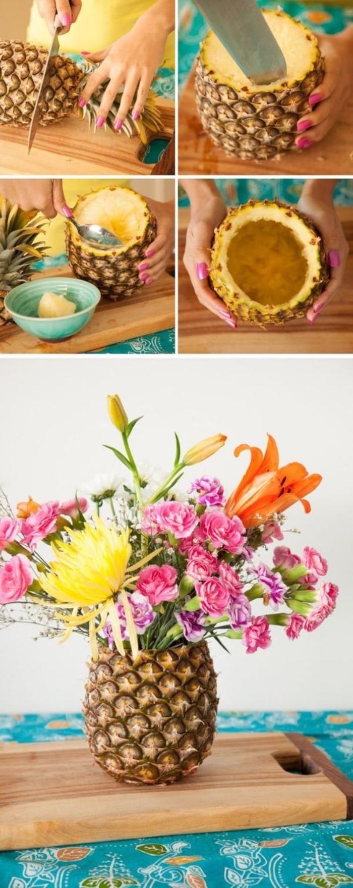 comment évider un ananas avec uen cuillère, bricolage facile un vase de fleur diy dans un fruit tropical, bouquet de fleurs, centre de table exotique