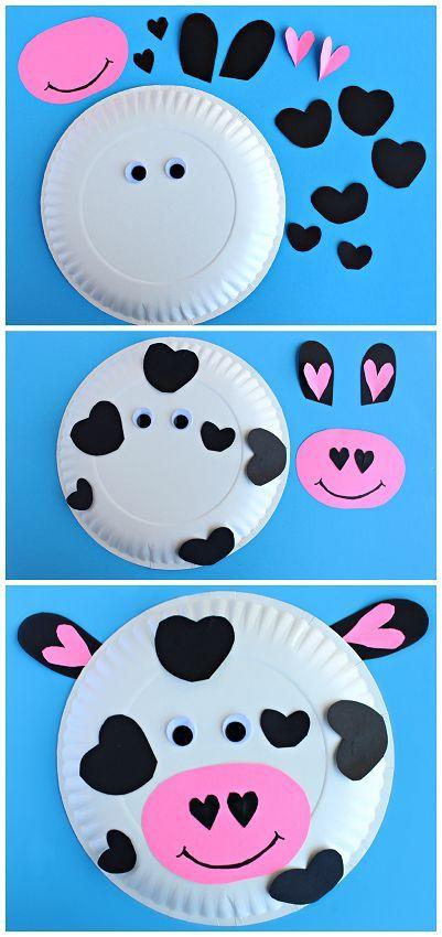 idée pour faire une tête de vache en assiette en papier, des yeux mobiles, taches, museau en papier à coller dessus, activités manuelle maternelle primaire