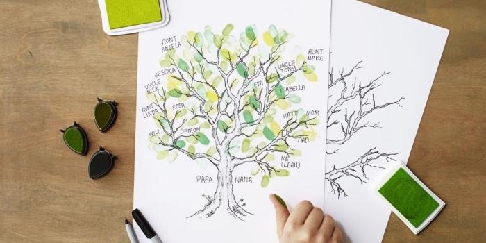 idée comment faire un arbre généalogique, feuilles en papier verts, membres de la famille, bricolage enfant facile