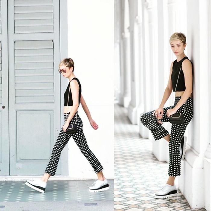 Adorable idée tenue pour la rentrée tenue rentrée pantalon noir à pois blancs