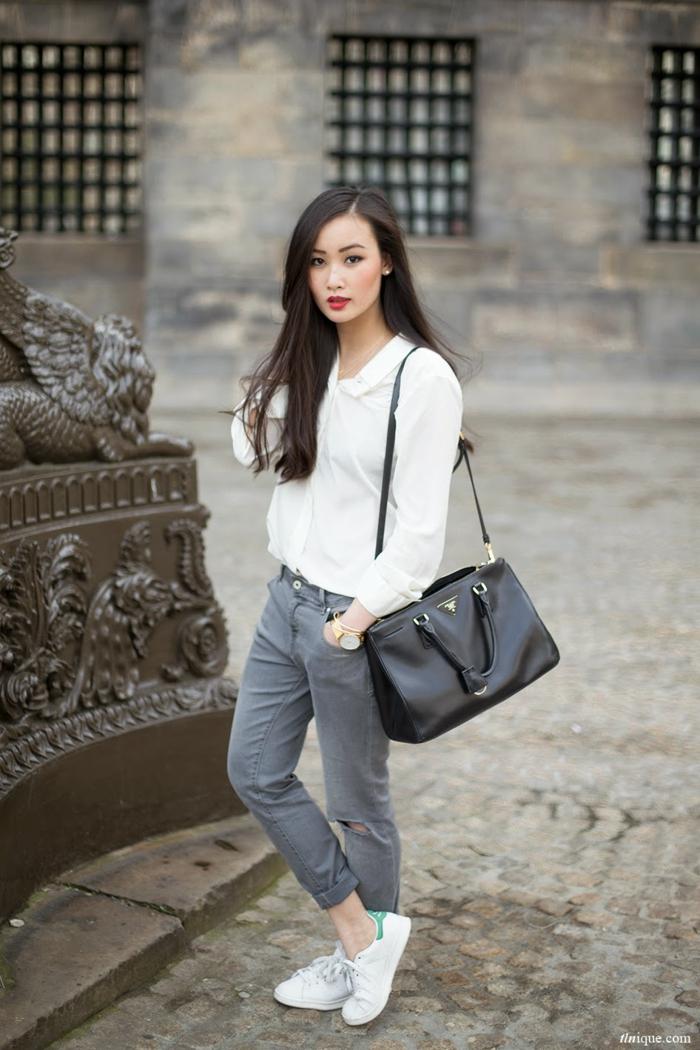 Idée tenue de lycée comment s'habiller pour se sentir confortable gris pantalon