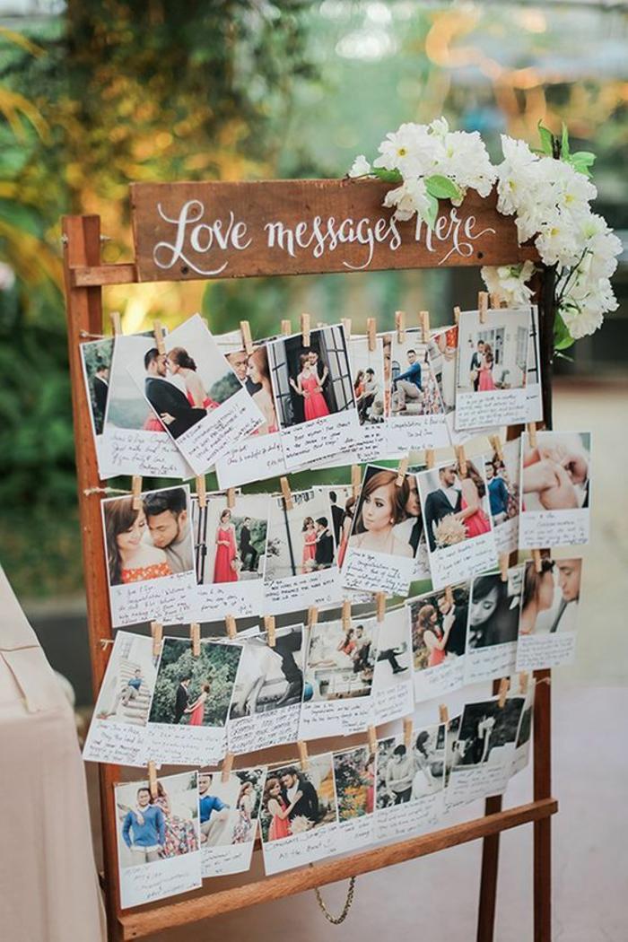 Tableau avec photos et voeux pour mariage cool idée décoration