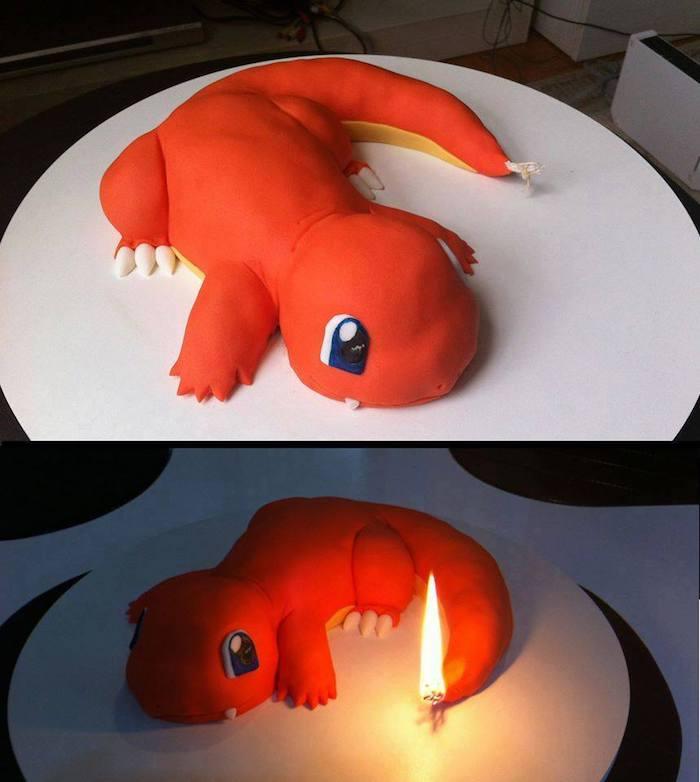 comment faire un gateau, décoration dessert en forme de dino, pokémon rouge, queue en feu, bougies d'anniversaire