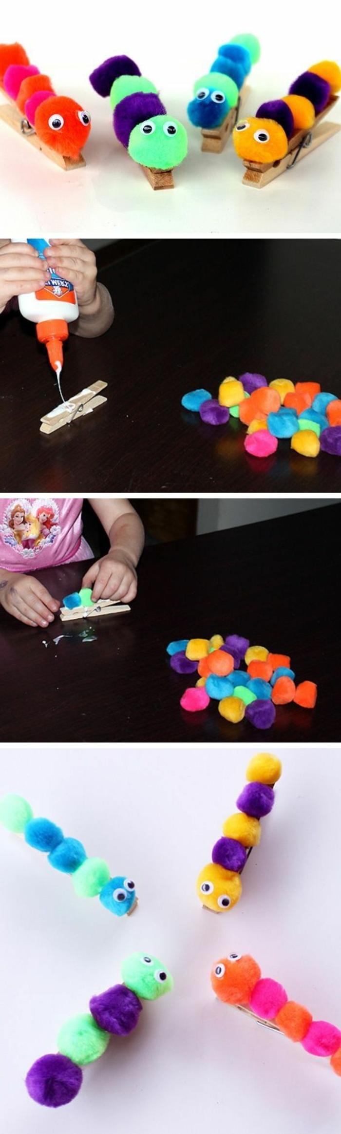 bricolage enfant facile et intéressant, une chenille en pompons multicolores collés sur une pince a linge en bois, tutoriel