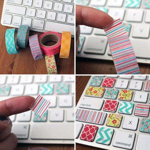 idée comment customiser un clavier avec des bandes de washi tape multicolores, bricolage facile été