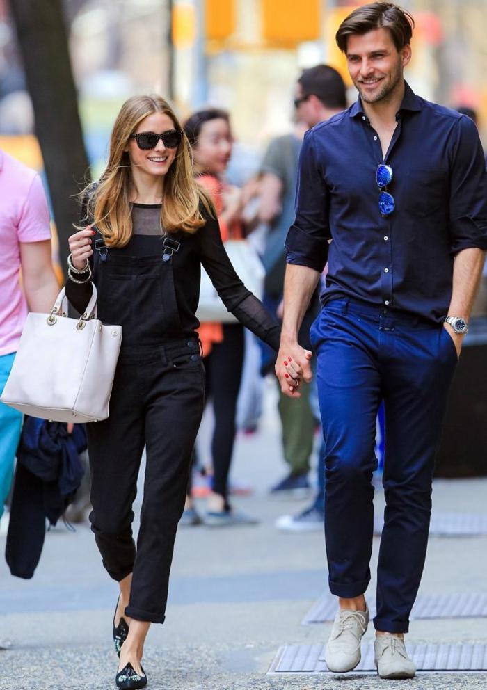 Short salopette tenue avec salopette ete printemps tenue Olivia Palermo et son époux