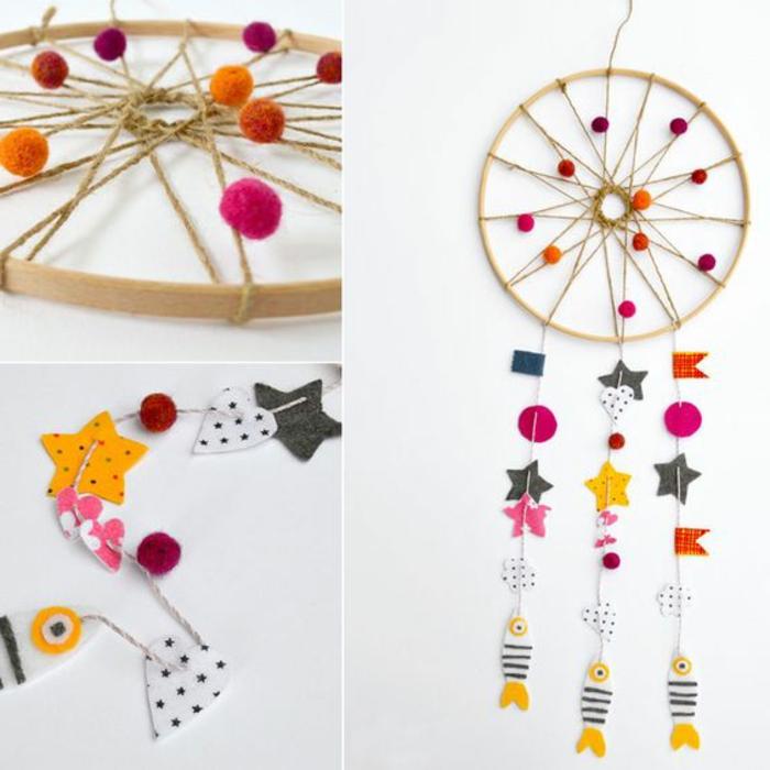 fabriquer un attrape reve soi meme, activités manuelles, cerceau en bois, filet, petits pompons et motifs en papier multicolores