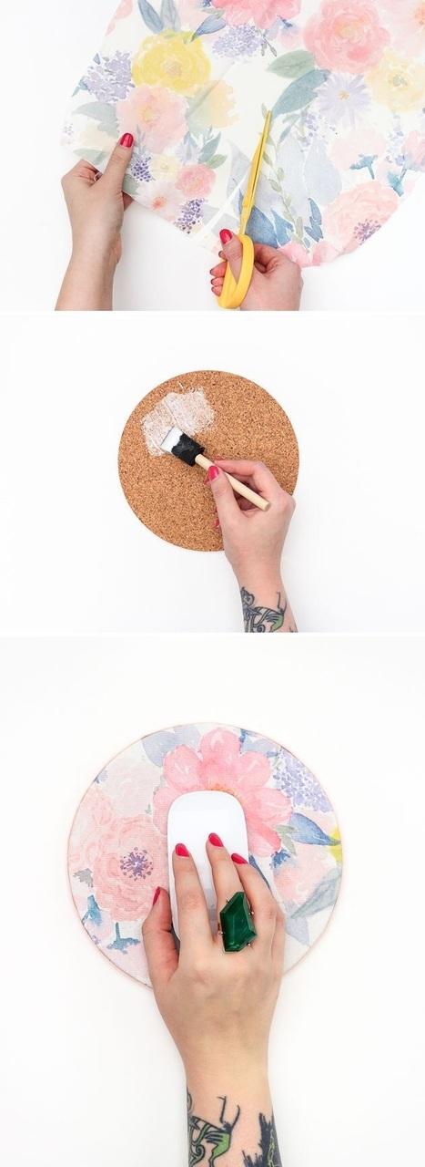 tutoriel pour fabriquer un tapis de souris, technique serviettage, décopatch, serviette papier motif fleurs tropicales, bricolage facile été