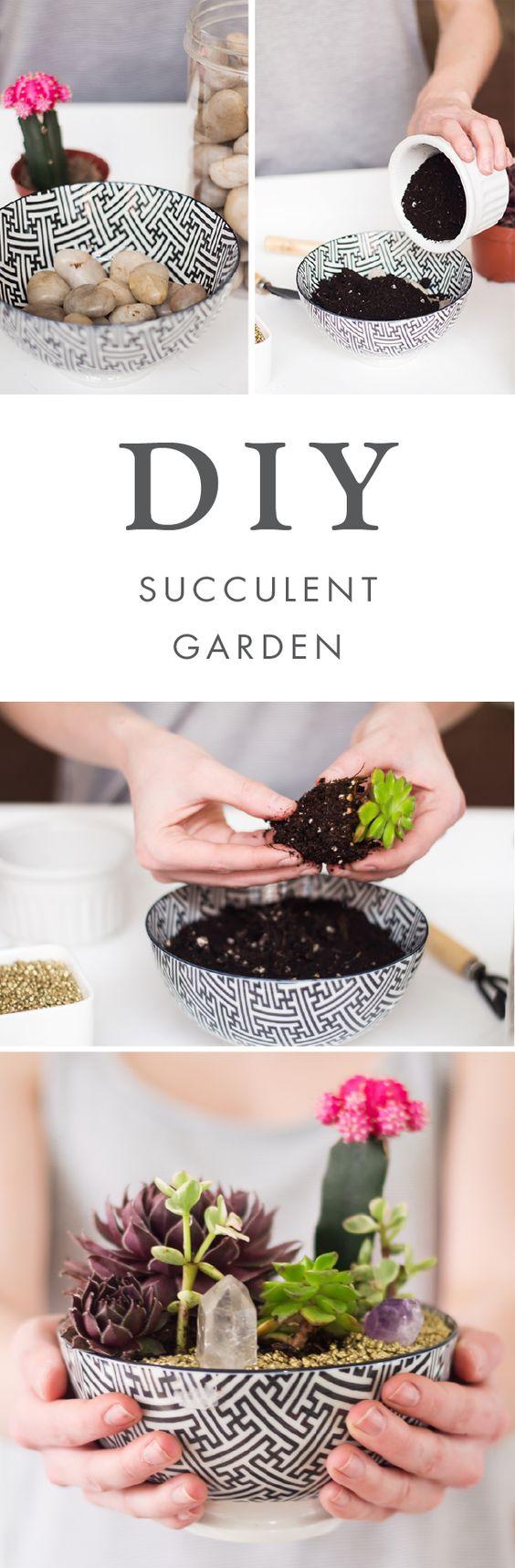 idée pour créer un jardin miniature de plantes succulentes, panier en noir et blanc, rempli de galets, terreau et plantes, tutoriel, activite manuelle facile pour l été