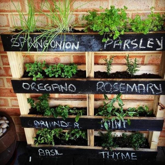 mur vegetal palette, jardiniere palette pour planter des plantes aromatiques, fines herbes, jardin vertical