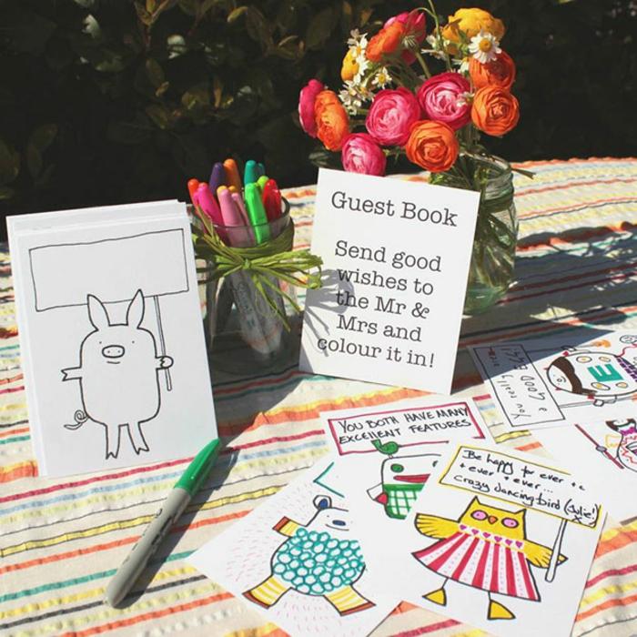 Faire soi même le livre d or mariage idée originale présentation cartes à signer avec message créative
