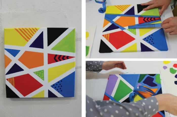 peinture abstraite artistique réalisée à l aide de bandes de washi tape, cadre decoratif, activité manuelle primaire, motifs geometriques