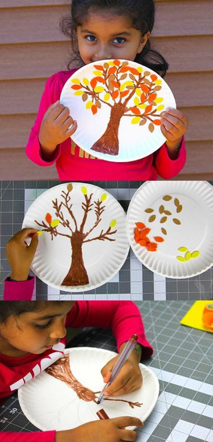 un dessin sur assiette en papier réalisé au feutre et feuilles d arbre automnales, idée de bricolage enfant facile