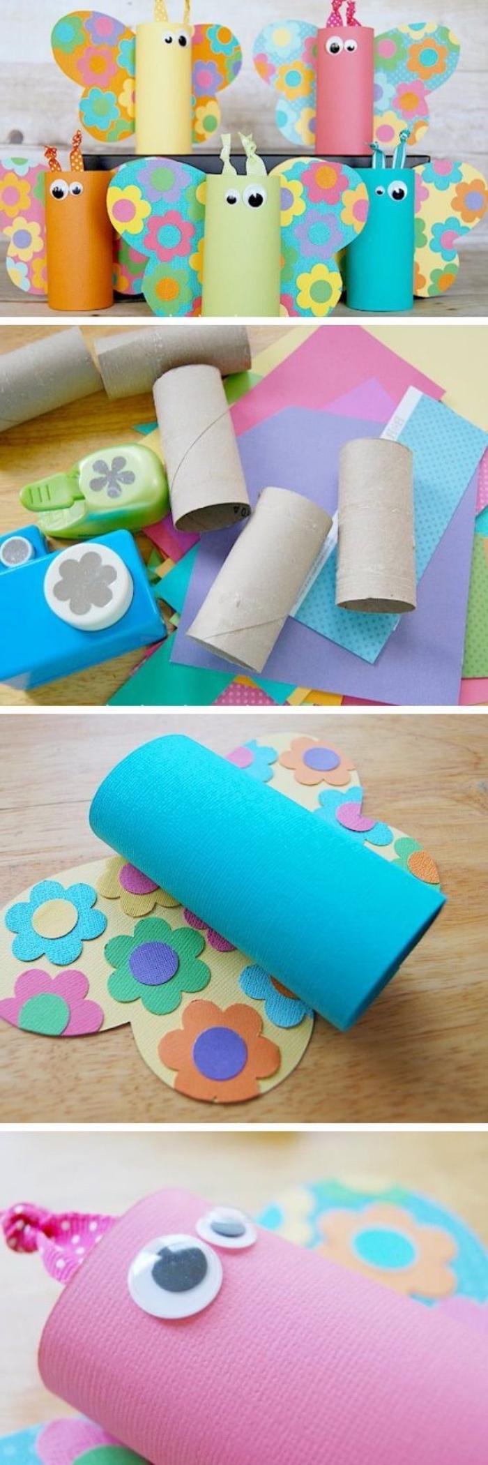 projet de bricolage enfant maternelle primaire, rouleau de papier toilette repeint, des ailes en papier motifs fleurs, activités manuelles enfant