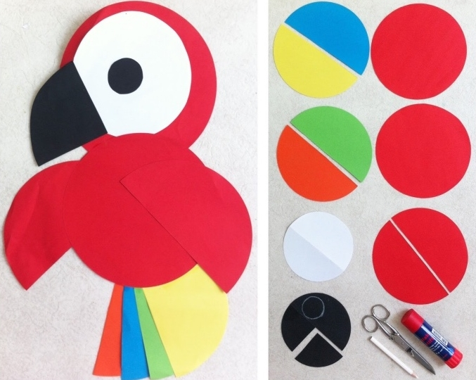 idée activités manuelles pour enfants en primaire, un perroquet en papier, cercles multicolores, bricolage amusant