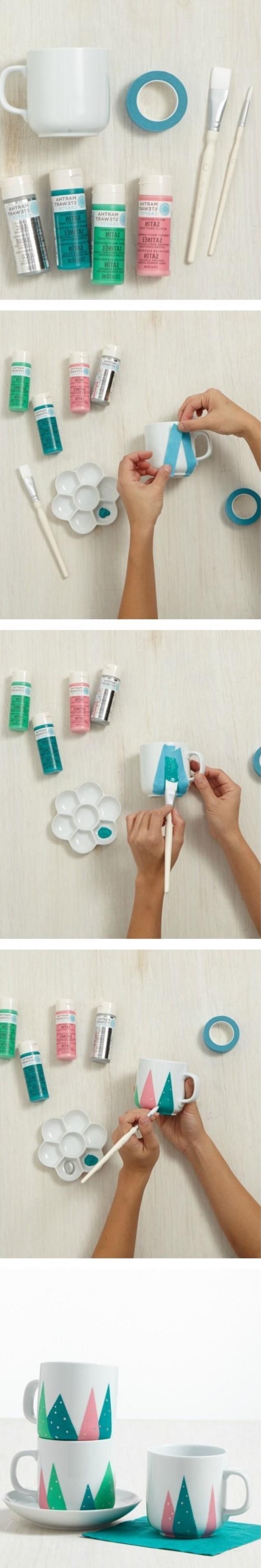 idée comment fabriquer un mug personnalisé, tasse à thé, bandes de washi tape pour créer des motifs montagne à la peinture multicolore, bricolage enfant