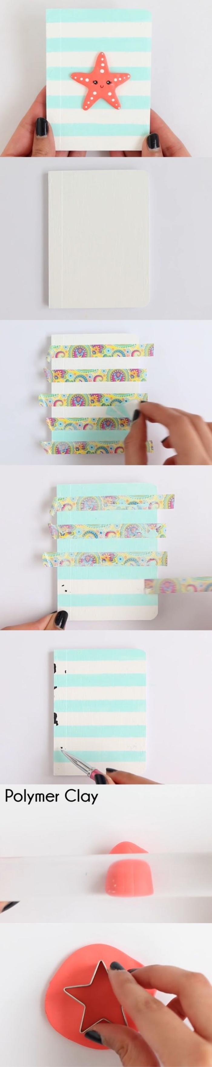 idée comment customiser un agenda scolaire à rayures bleues, bandes de washi tape et étoile en pate fimo, washi tape motifs