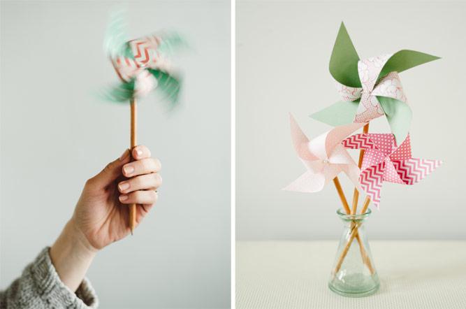 fabriquer un moulin à vent en papier cartonné multicolore, crayon et épingle, bricolage facile enfant en primaire