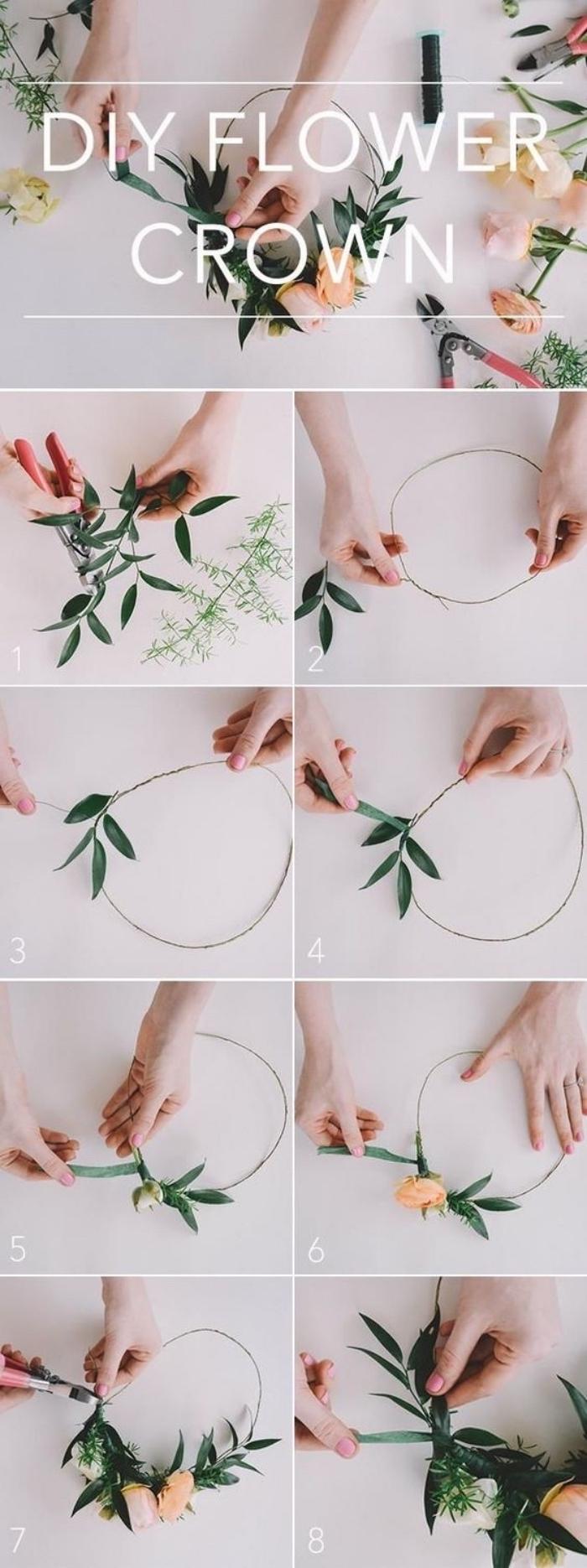 idée de projet de bricolage pour fabriquer une couronne de branches verdie et de fleurs, activite manuelle été