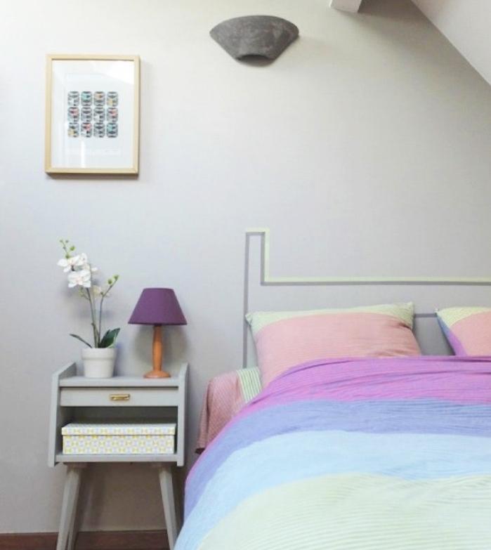 idée fabriquer une tete de lit en bandes de washi tape, illusion alternatives tête de lit superbe, couverture et taies d oreiller multicolores