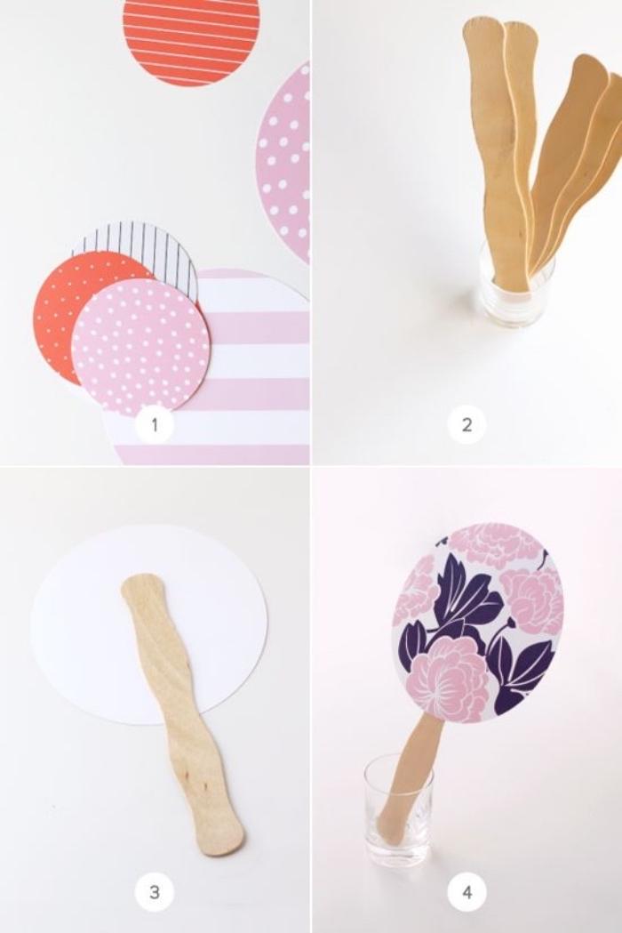 comment fabriquer un éventail, bricolage enfant, activité manuelle primaire, batonents de glace, papier cartonné, motifs divers