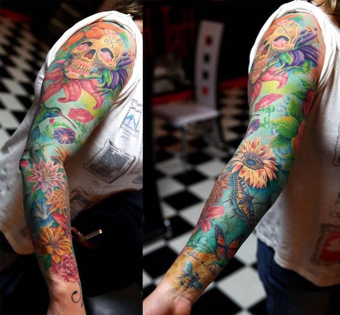 tatouage femme bras complet couleurs tete de mort mexicaine calavera