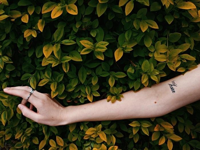 tatouage simple à l'intérieur du bras représentant un mot découpé en deux par un trait, tatouage mot inspirant