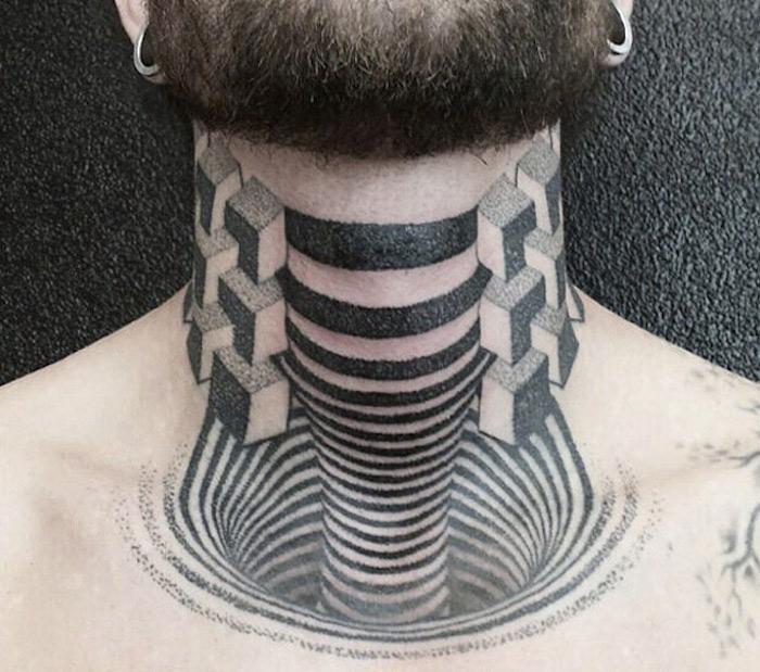 idées tatouage de cou réaliste en 3 dimensions style tattoo abstrait