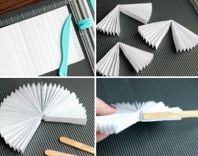 bricolage enfant, activité manuelle primaire, maternelle, tutoriel pour fabriquer un éventail en papier et batonnets de glace facilement