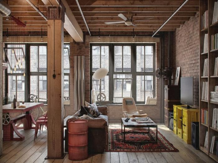 meuble industriel, plafond en poutres, pipes apparents, corde lumineuse, bouteille de vin, commode jaune