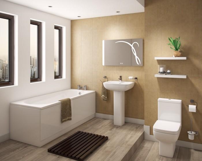 salle de bain moderne, baignoire blanche, dallage imitation bois, plante verte, lavabo céramique