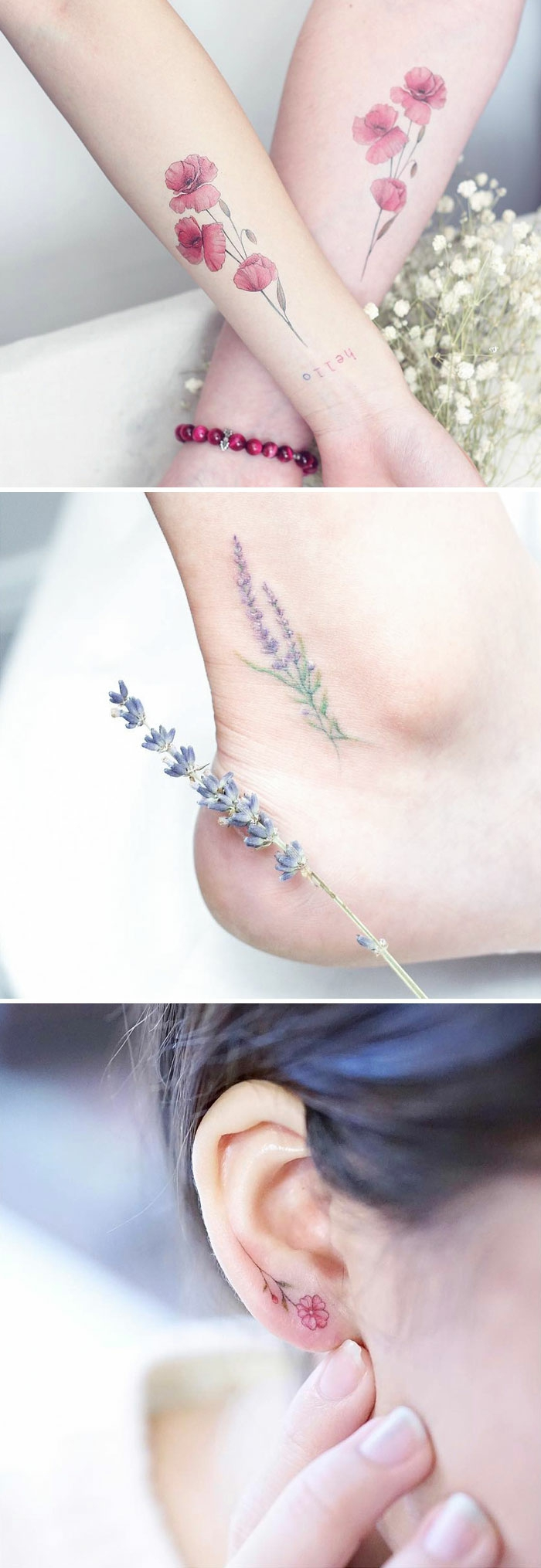 Photo de tatouage femme poignet idées tatoo superbe fleurs colorés