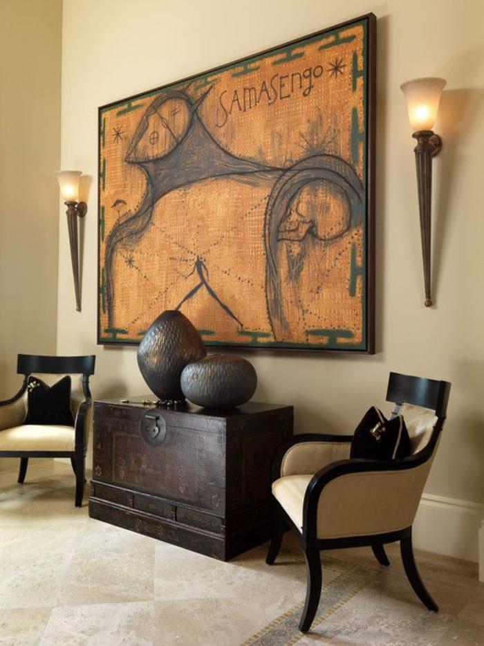 salon ethnique de style colonial aux couleurs naturelles, grand tableau ethnique, salon