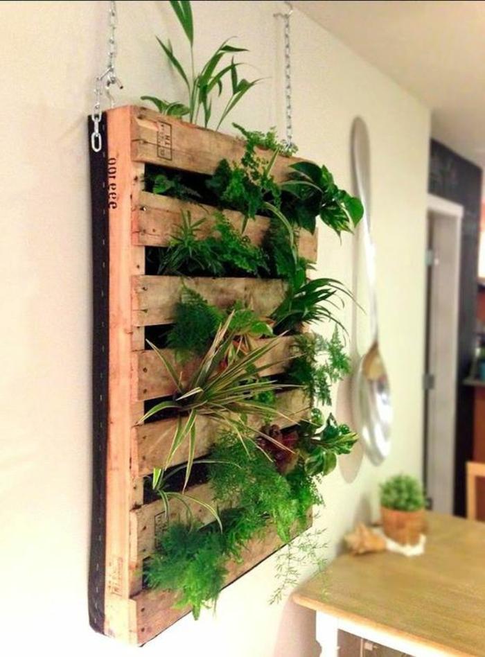 jardin vertical palette suspendu, decoration interieure, des plantes plantées dans les interstices entre les planches de bois