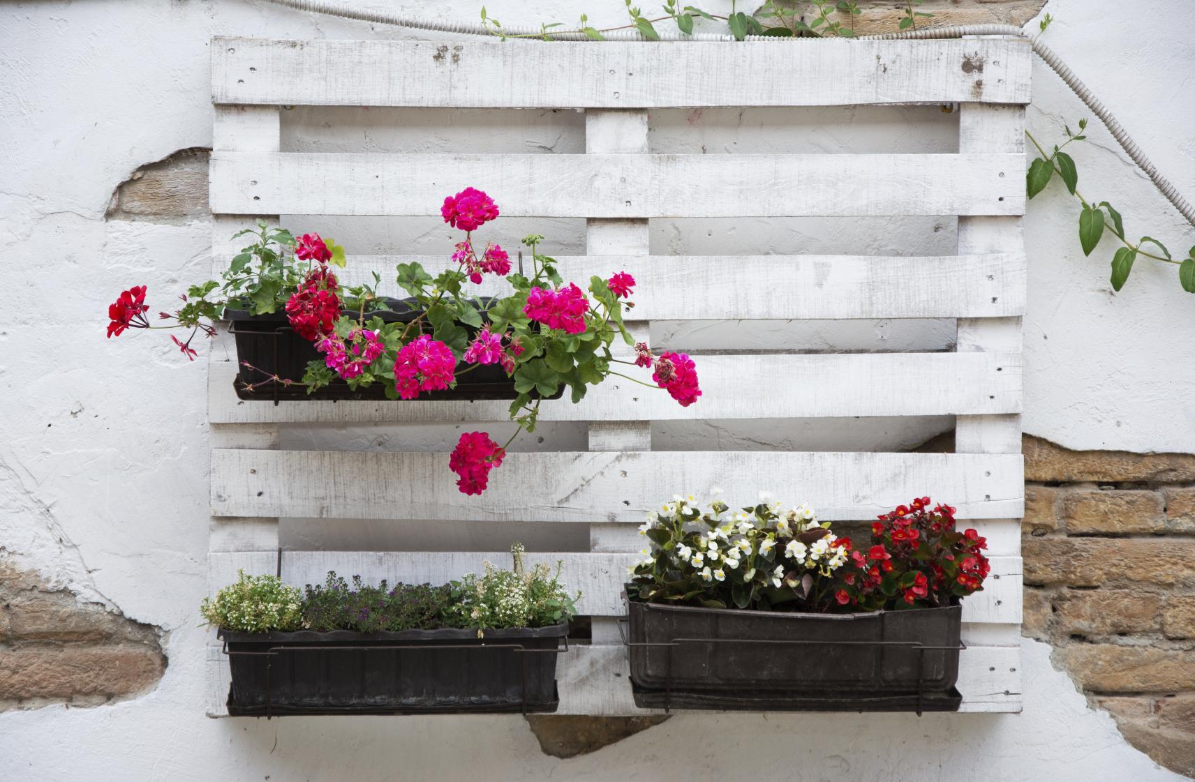 exemple de jardiniere en palette à fabriquer soi meme, bacs a fleurs rangement support, palette de bois repeinte en blanc, projet bricolage