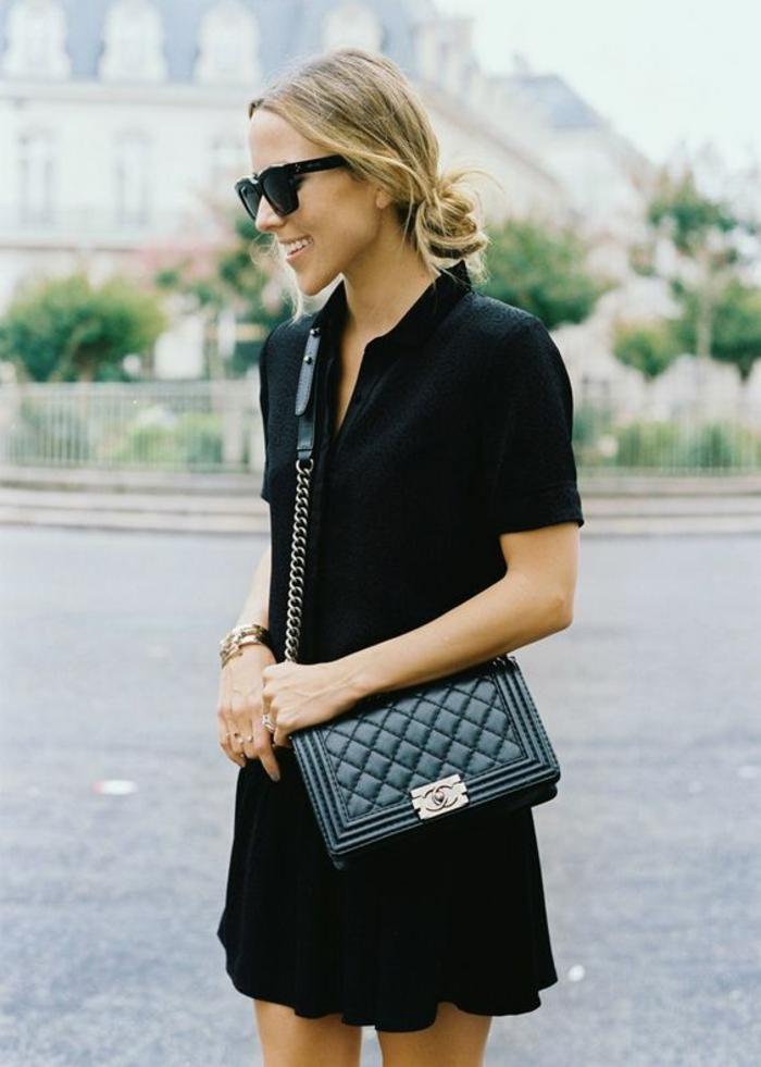 Une pochette femme bandoulière pochette femme cuir robe noire chic decontractee
