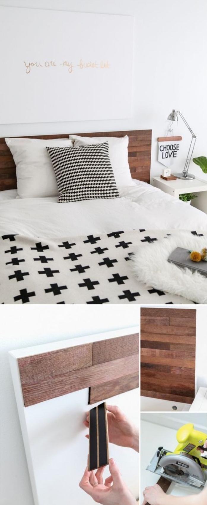 fabriquer une tete de lit soi meme avec des lames de bois adhesives, linge de lit noir et blanc, style scandinave, bricolage facile et rapide, panneau decoratif avec texte lettres dorées