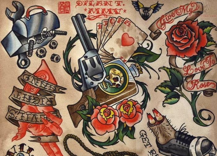 Beau tatouage bras entier old school tattoo rockabilly modèle tatou