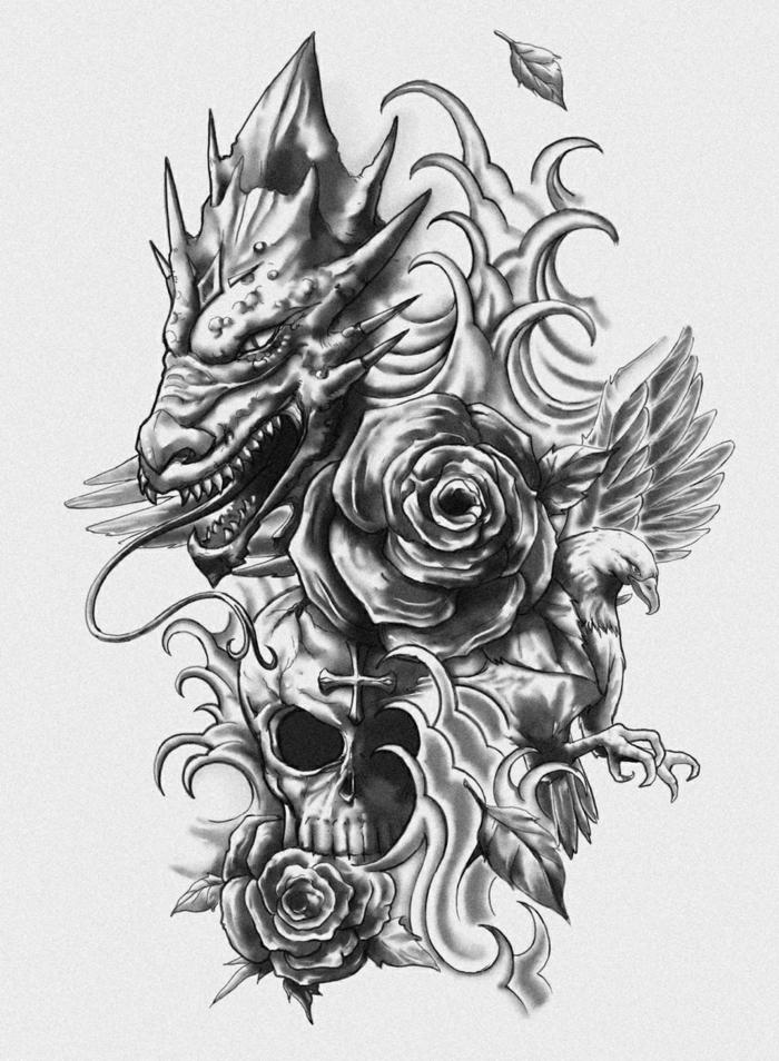 Dessin Pour Tatouage Dragon Tuer Auf