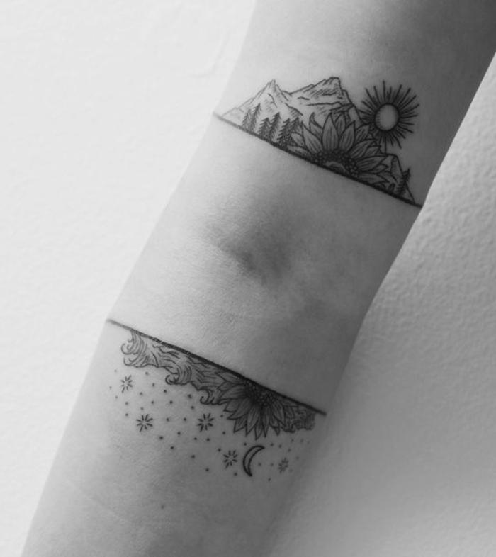 les plus beaux tatouage, montagne, fleur, soleil, lune et étoiles tatoués au bras