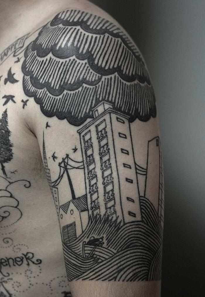 plus beau tatouage homme nuage tattoo tempete nuages pluie