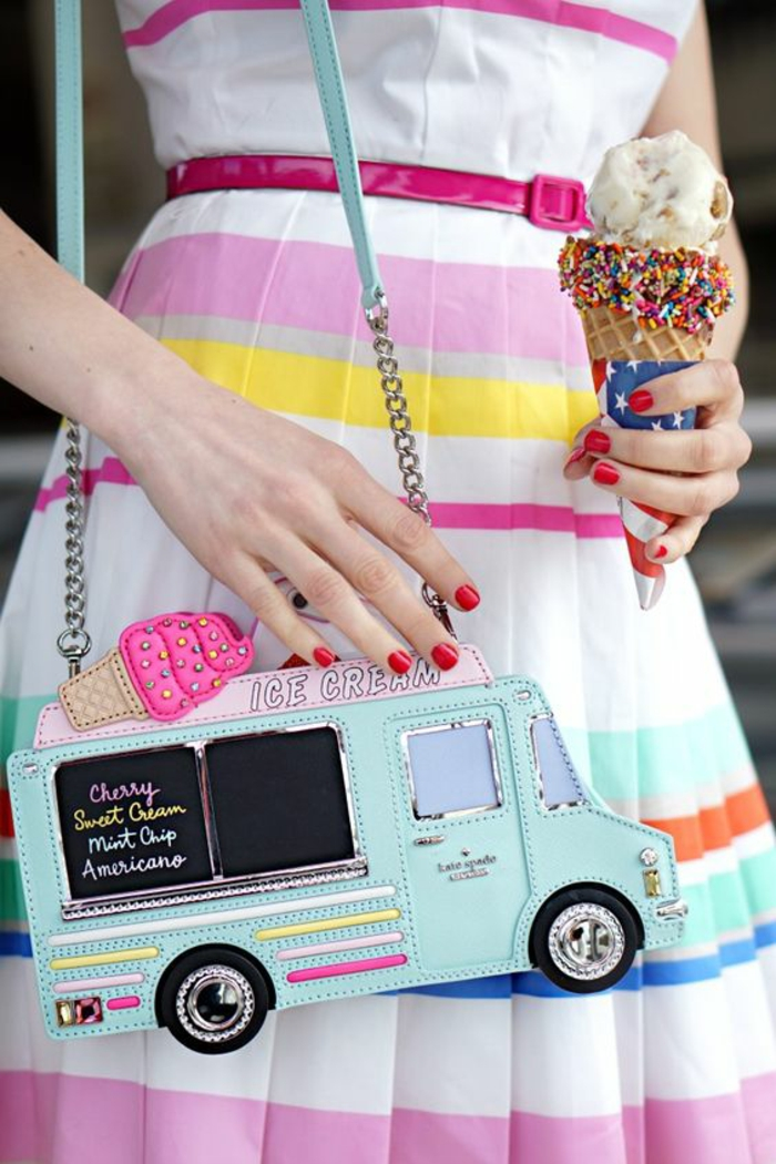 Pochette cuir femme longchamp ou guess pochette femme ice cream truck