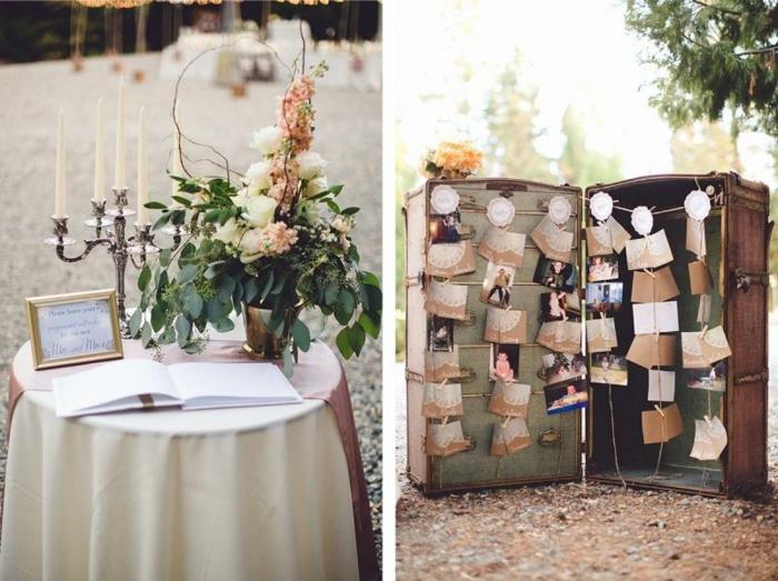 Ritual mariage livre d or mariage rose et gris idée originale livre invité valise messages