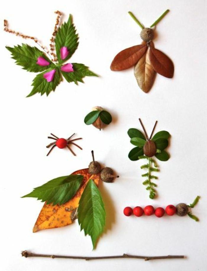 idée dessin artistique avec des matériaux naturels, activité créative, bricolage enfant facile et amusant, leçon botanique