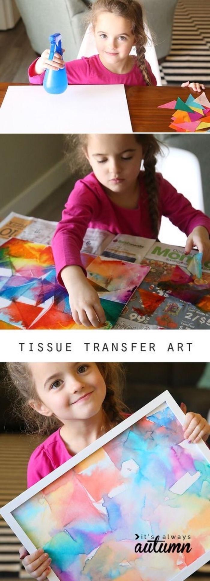 idée loisirs créatifs, activité manuelle maternelle primaire, une toile, décorée à motifs colorés, dessin créatif enfant