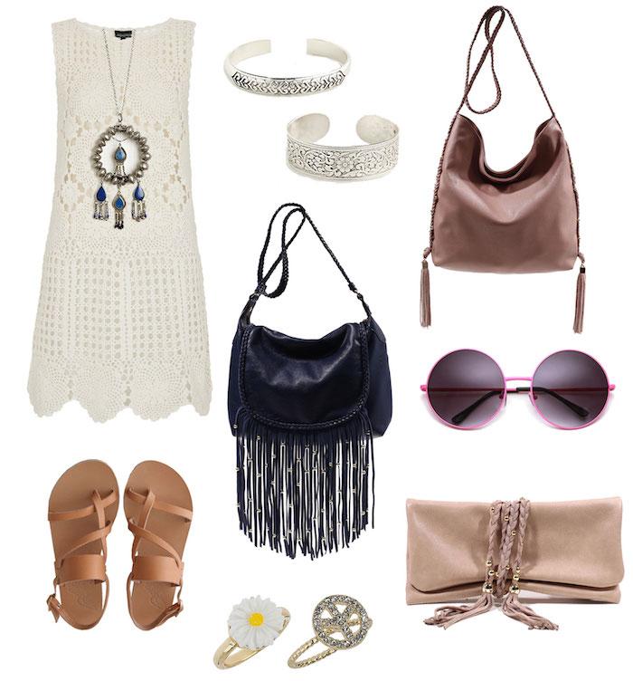 vetement boheme, sandales marron, bague à motif marguerite, pochette beige, collier motif attrape-rêve