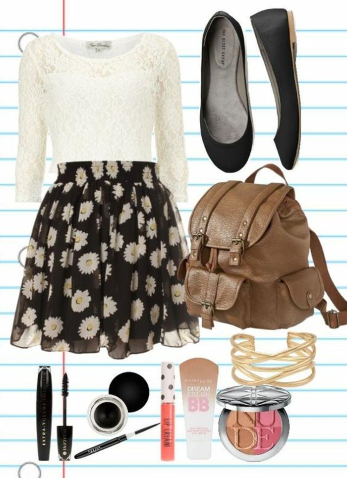 Style etudiant tenue cool et classe college filles idée jupe fleurie